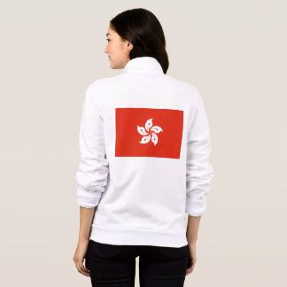 Women's  Fleece Zip Jogger with flag of Hong Kong
