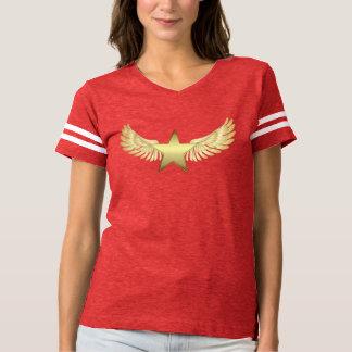 Women's Football T-Shirt Gold Wing Star