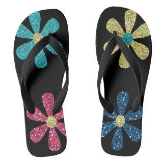 women's glitter floral flip flops