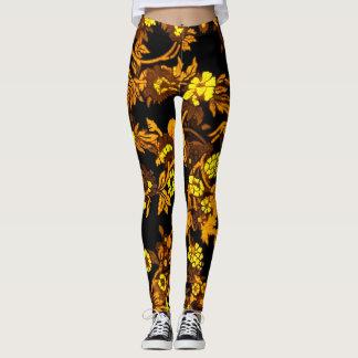 Women's Gold Floral Leggings Beautiful