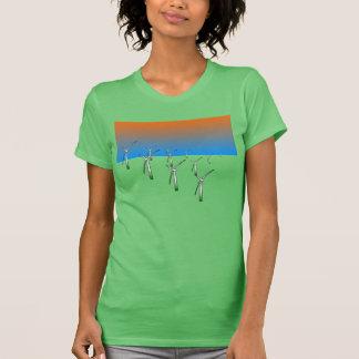Women's Green Wind Turbine Farm T-Shirt