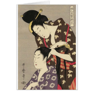 Womens Hairdressing Utamaro Yuyudo Ukiyo-e Art Card