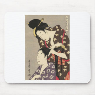 Womens Hairdressing Utamaro Yuyudo Ukiyo-e Art Mouse Pad