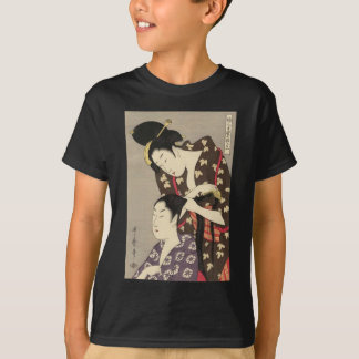 Womens Hairdressing Utamaro Yuyudo Ukiyo-e Art T-Shirt