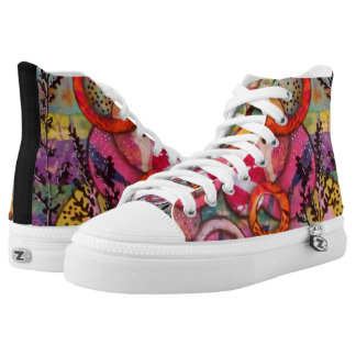 Womens High Top Tennis Shoes Original Art - Circle