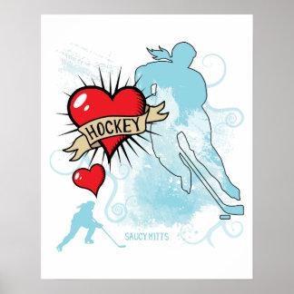 Women's Hockey Heart and Swirls player silhouette Poster