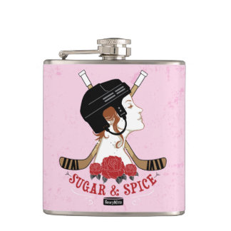 Women's Hockey Sugar and Spice Pink Hip Flask
