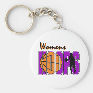 womens hoops purple basketball design basic round button key ring