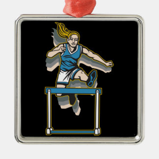 Women's Hurdles Silver-Colored Square Decoration