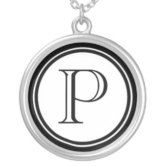 Women's Initial Round Pendant Necklace