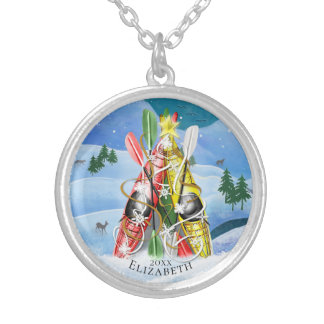 Women's Kayak Christmas Tree Wonders of Nature Silver Plated Necklace