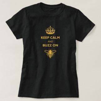 Women's Keep Calm & Buzz On Shirt (Gold Print)