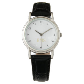 Womens Ladies Leather Strap Initial Monogram Watch