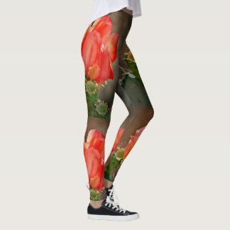 Women's Leggings - Cactus Bloom in Red
