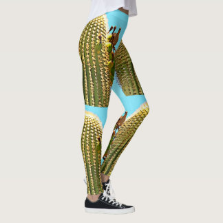 Women's Leggings - Dove on Saguaro in Cartoon
