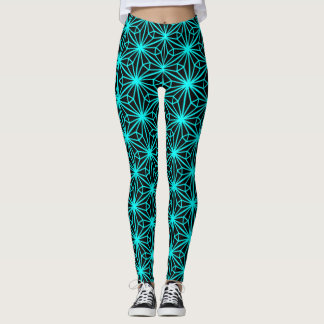 Women's Leggings Geometric Aqua on Black Design