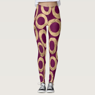 Women's Leggings in Plum and Gold Foil