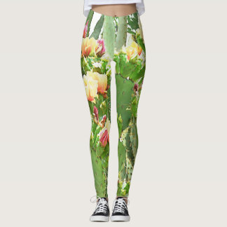 Women's Leggings - Prickly Pear Blooms