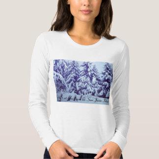 Women's long sleeve shirt with snow scene.