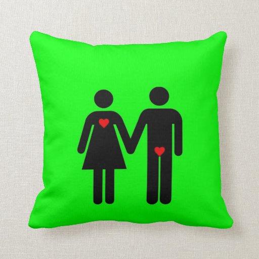 Womens love vs mens love joke humour throw pillows