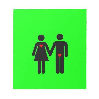 Womens love vs mens love joke humour note pad