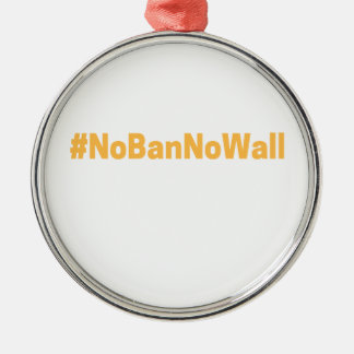 Women's March #NoBanNoWall Silver-Colored Round Decoration