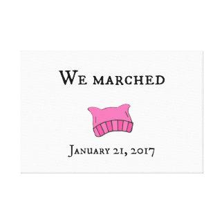 Women's March Pink Pussyhat Artwork Canvas Print