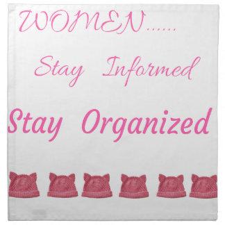 WOMEN'S MARCH STAY INFORMED STAY ORGANIZED NAPKIN