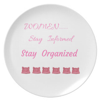 WOMEN'S MARCH STAY INFORMED STAY ORGANIZED PLATE