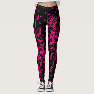 Womens Pink and Black Floral Leggings