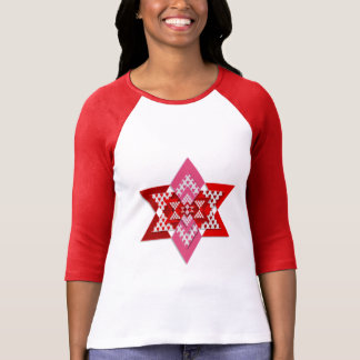 Women's Pink and Red Stylish Star T-Shirt