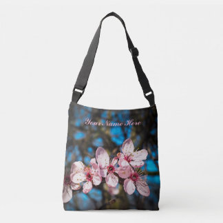 women's pink flower tote bag cross body bag