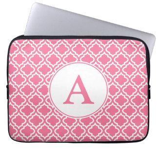 Women's Pink Monogram Computer Laptop Sleeve Gift