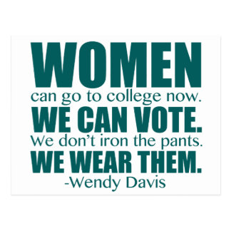 Women's Progress Wendy Davis Quote Postcard