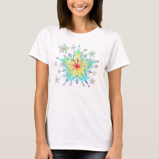 Women's Rainbow Ice Crystal Snowflake T-Shirt
