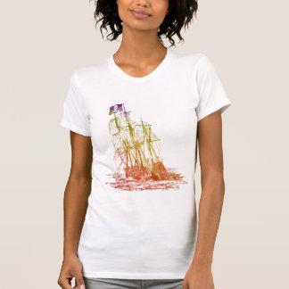 Womens Rainbow Pirate Ship T-Shirt