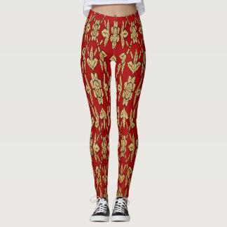 Women's Red and Gold Design Leggings