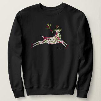 Women's Reindeer holiday sweatshirt in black