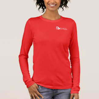 Womens Relaxed Fit 3/4 Sleeved V-Neck (red) Long Sleeve T-Shirt