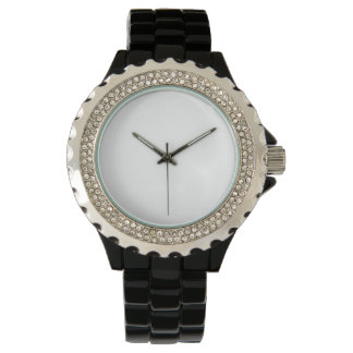 Women's Rhinestone Black Enamel Watch