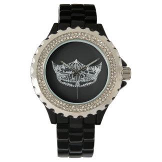 Womens Rhinestone Pageant Crown Watch