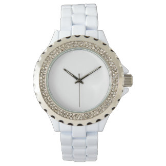 Women's Rhinestone White Enamel Watch