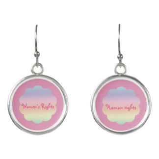 Womens Rights are Human Rights Pink Rainbow Earrings