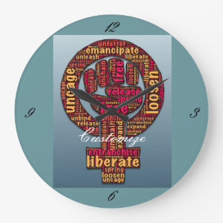 women's rights raised fist Thunder_Cove Large Clock