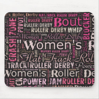 Women's Roller Derby Text Collage Mouse Pad