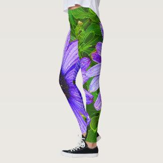 Women's sexy Flower  Purple/Green Leggings