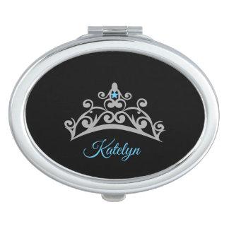 Women's Silver Tiara Compact Mirror-Custom Name Compact Mirror