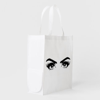 Womens Sketch Eyes Reuseable Bag