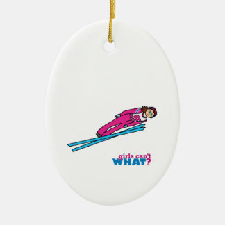 Womens Ski Jumping Ceramic Oval Decoration