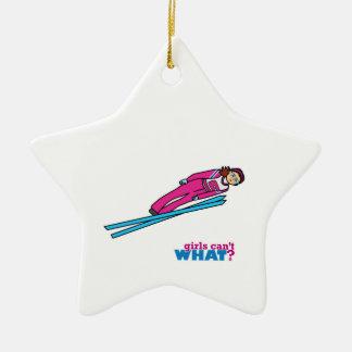 Womens Ski Jumping Ceramic Star Decoration